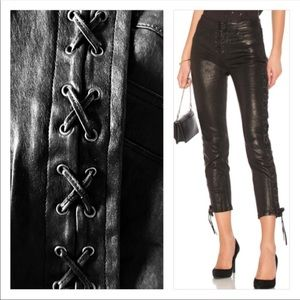 Frame Denim | NWT Lace Up Crop Leather Pant